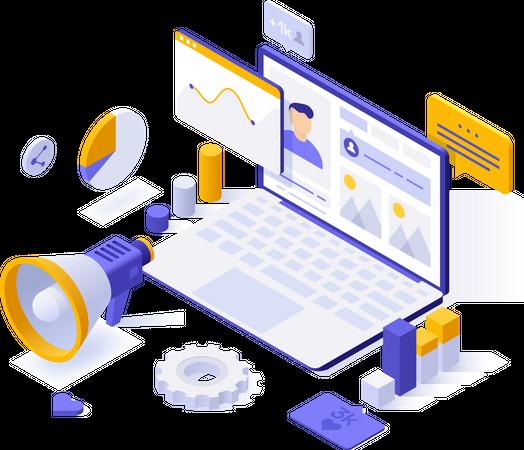 Social media marketing analysis Illustration