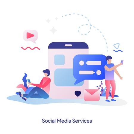 Social Media services Illustration