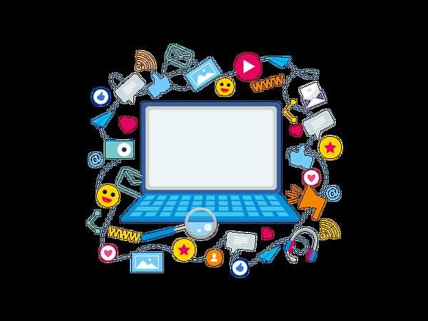 Social media use on laptop Illustration
