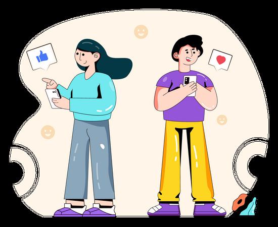 Social media users Illustration