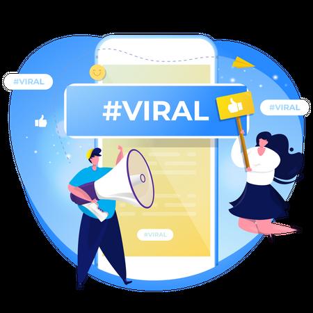 Social media viral content Illustration