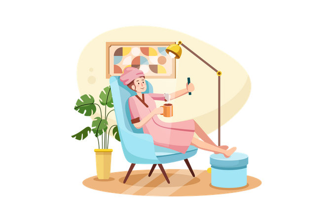 Social media young influencer in casual style at home Illustration