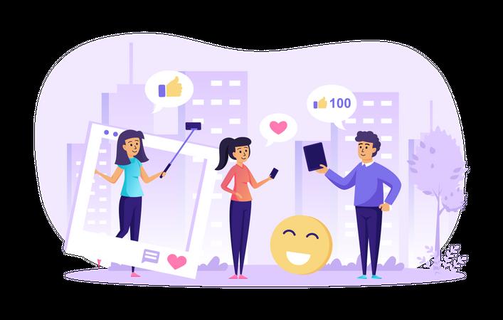 Social network and internet blogging Illustration
