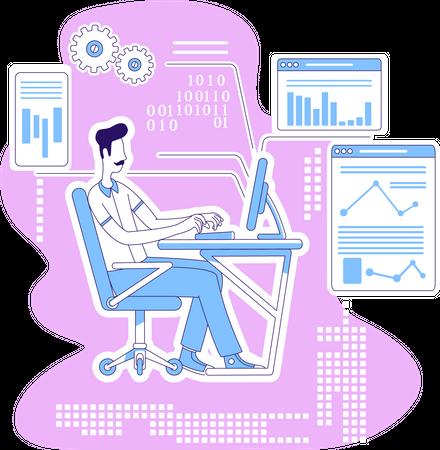 Software developer developing software Illustration
