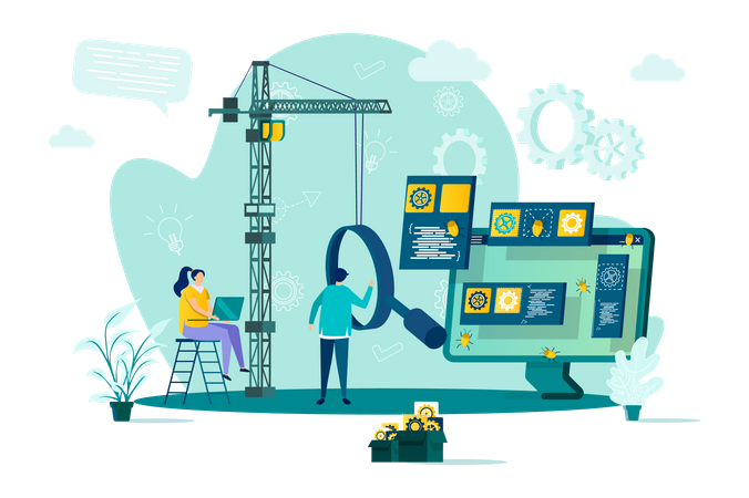 Software tester doing Software testing and quality assurance Illustration