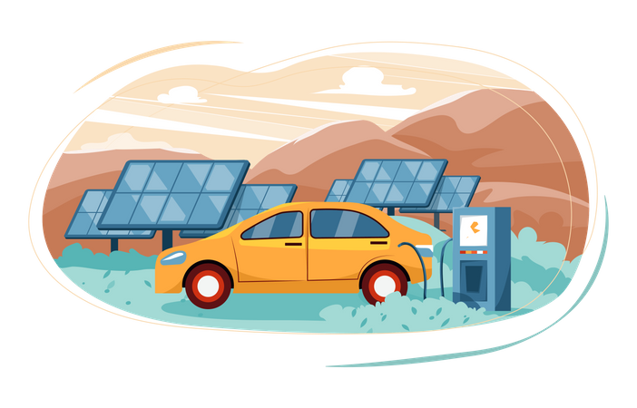 Solar charging station Illustration