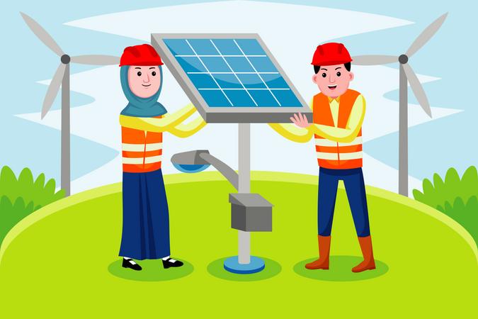 Solar Engineer Illustration