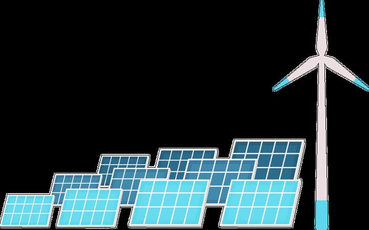 Solar panels and wind turbine Illustration