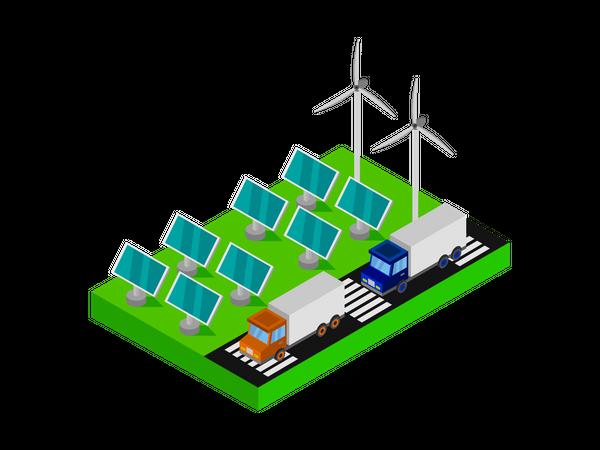 Solar panels and wind turbines Illustration