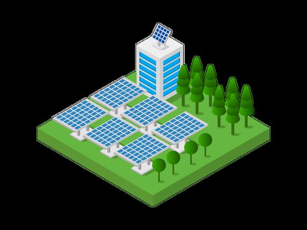 Solar power plant Illustration