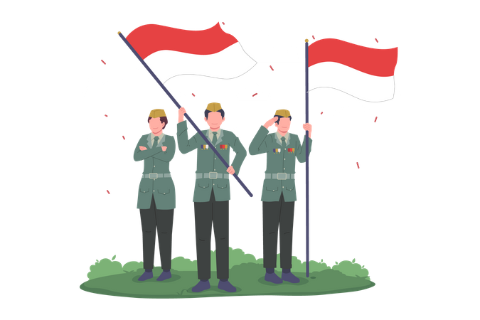 Soldiers Celebrating Indonesia Independence Day Illustration