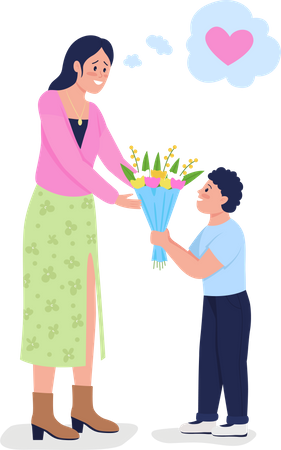 Son giving flowers to his mom Illustration