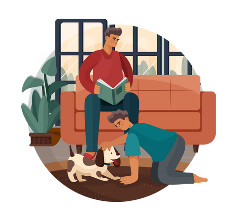 Son playing with dog while father reading book Illustration