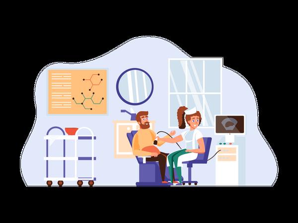 Sonographer examining patient Illustration