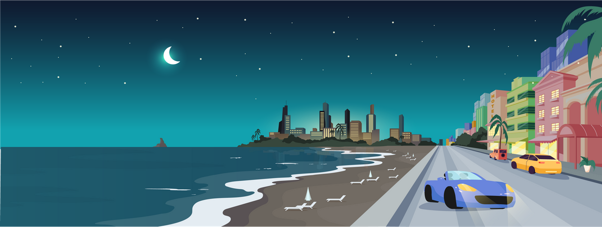 South beach at night Illustration