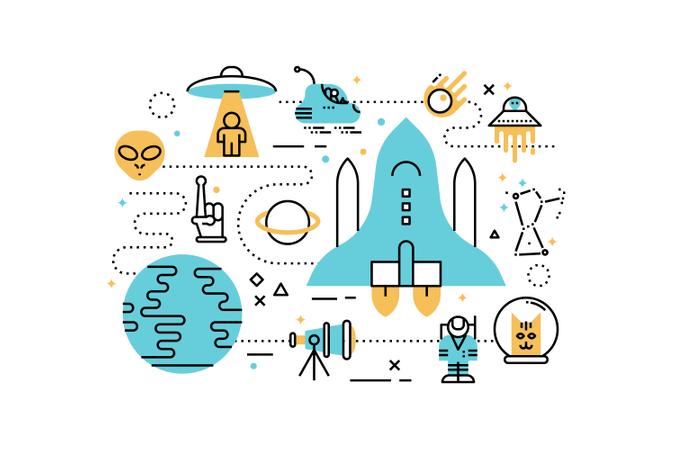 Space line icons illustration Illustration