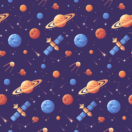 Space objects seamless pattern Illustration