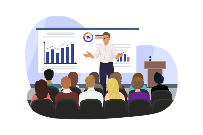 Speaker at business meeting in the conference hall Illustration