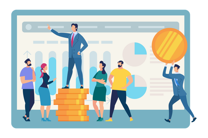 Speaking Business Coach Stand on Golden Coin Pile Illustration