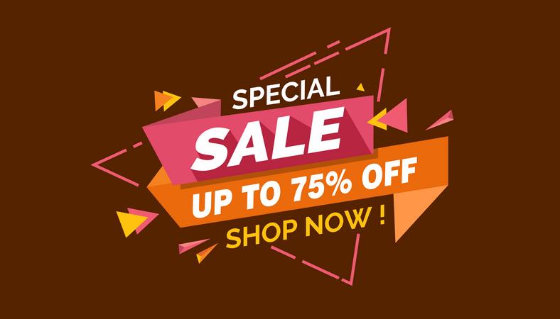 Special Sale, Colorful Sale Banner Label, Discount Sale, Promo Sale Card Illustration