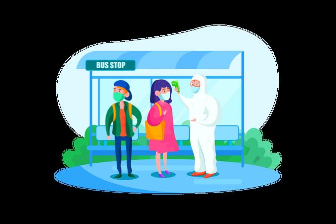 Specialist in hazmat suit checking passengers temperature at Bus stop Illustration