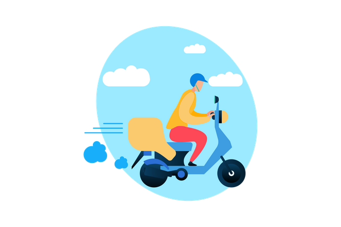 Speed Delivery on Scooter Illustration