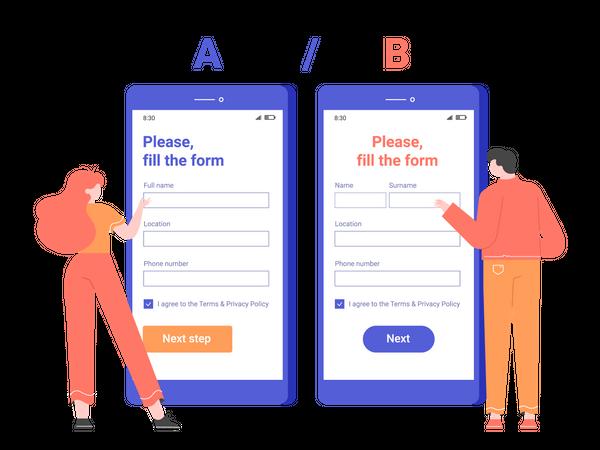 Split AB testing the registration form in the mobile application Illustration