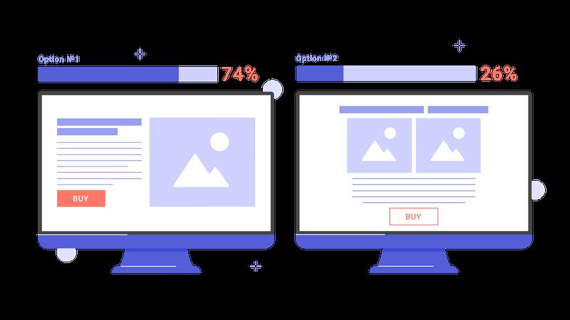 Split testing of landing page web design Illustration