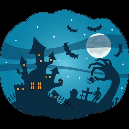 Spooky Halloween castle Illustration