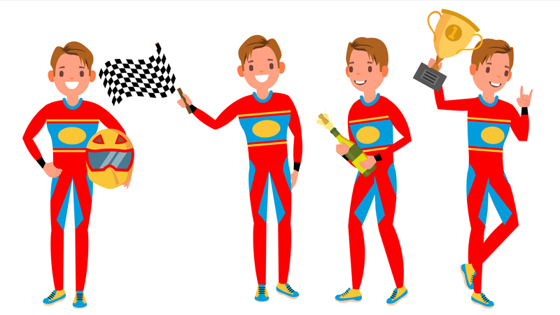 Sport Car Racer In Red Uniform With Different Pose Illustration
