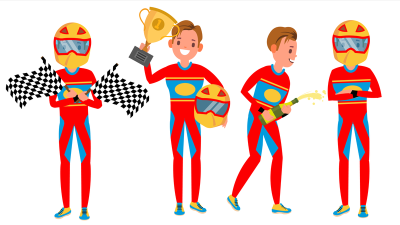 Sport Car Racer With Different Poses Illustration