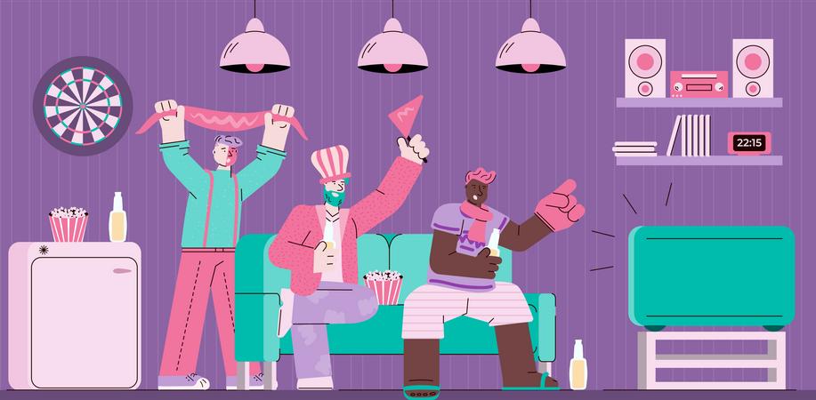 Sport fans watching TV on sofa Illustration