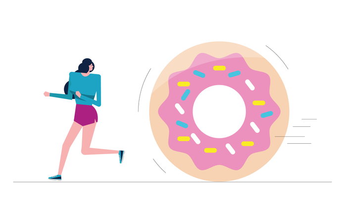 Sport Girl Run Away From Big Donut Illustration