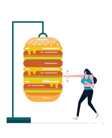 Sport Woman Boxing Big Hamburger Illustration