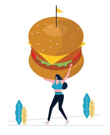 Sport Woman Holding Big Hamburger And Exercising Illustration