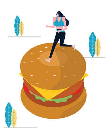 Sport Woman Running On Big Hamburger Illustration