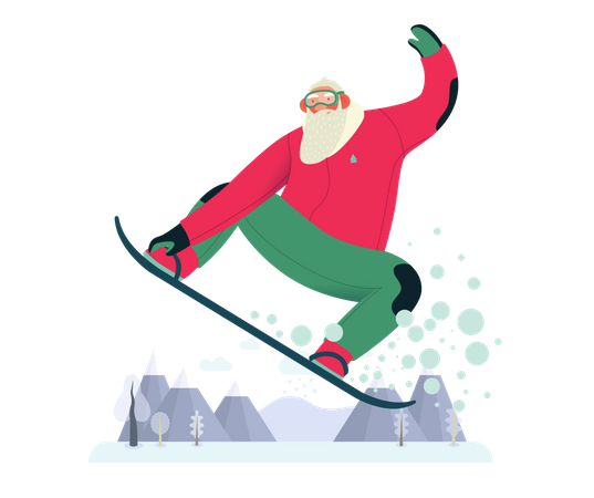 Sporting Santa Enjoying snowboarding Illustration