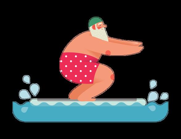 Sporting Santa enjoying swimming Illustration