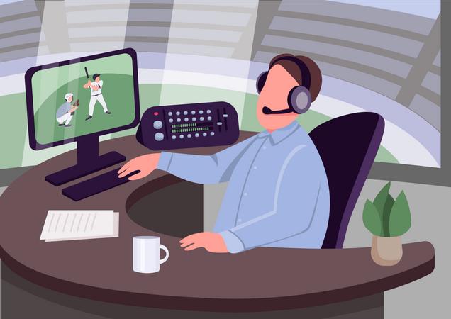 Sports commentator Illustration
