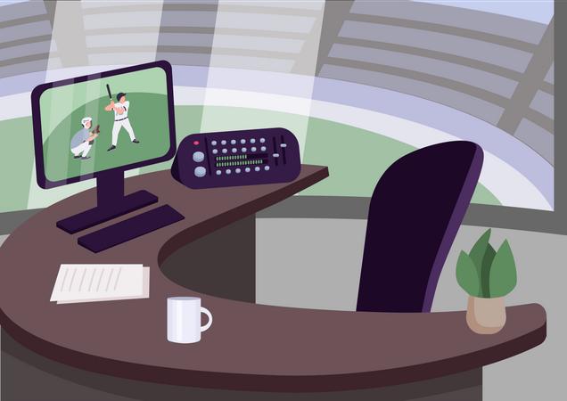 Sports commentator workplace Illustration
