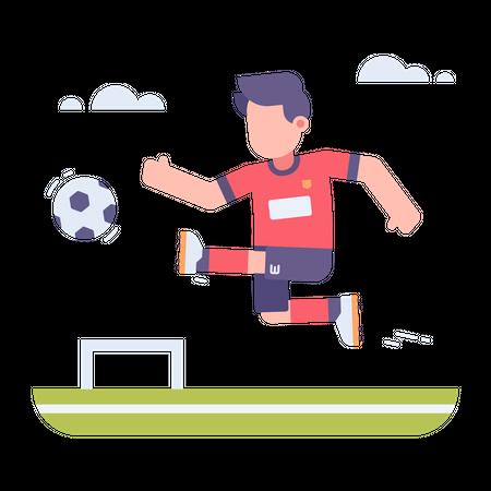 Sports player playing football Illustration