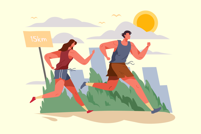 Sporty couple running together at the evening for health goal Illustration