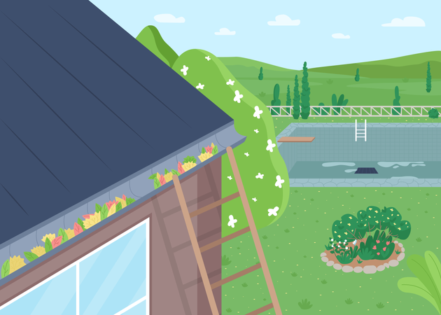 Spring roof cleaning from leaves Illustration