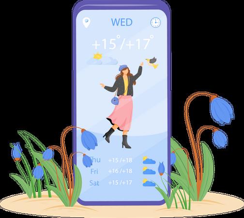 Spring weather forecast Illustration