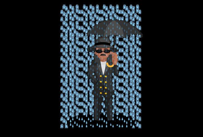 Spy holding umbrella in hand Illustration