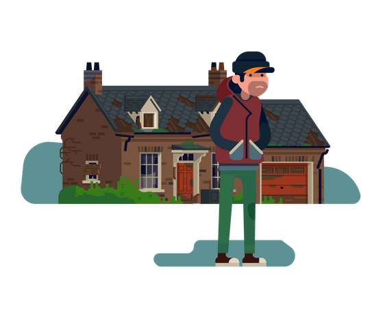 Squatter character standing in front of abandoned suburban house with garage Illustration