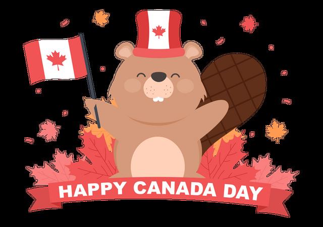Squirrel Celebrating Canada Day Illustration