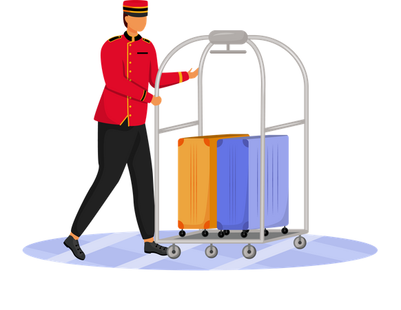 Staff with luggage cart Illustration
