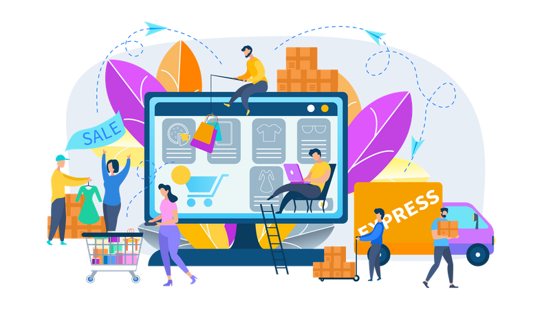 Stages of Online Shopping, Order, Express Delivery Illustration