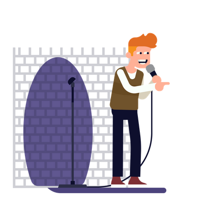 Stand up comedian performing on stage in a spot light holding microphone Illustration
